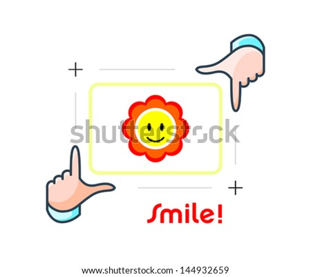 Framing happy person portrait by photographer hands - stock vector