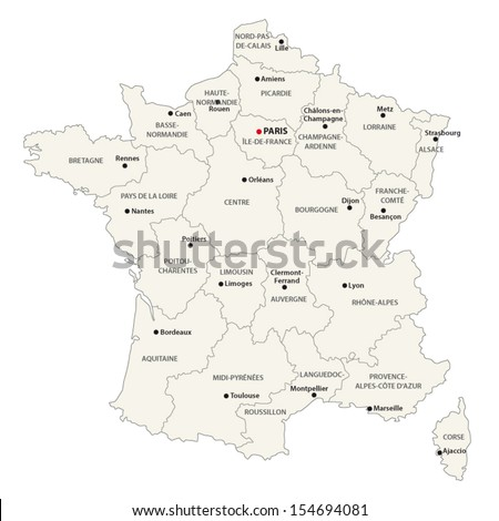 france administrative map - stock vector