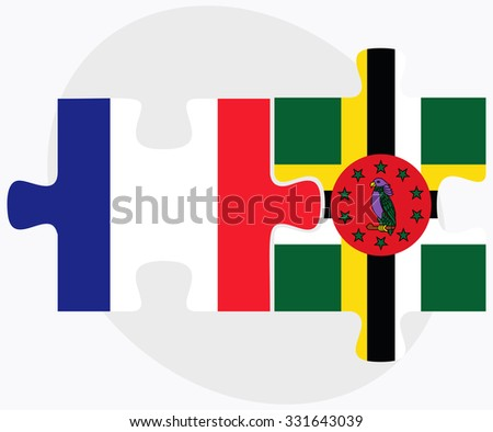 France and Dominica Flags in puzzle isolated on white background