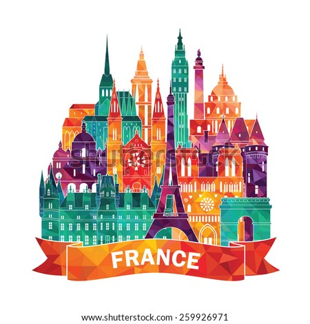 France detailed skyline. Vector illustration - stock vector