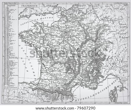 "France, engraving vector map from ""The Complete encyclopedia of illustrations"" containing the original illustrations of The iconographic encyclopedia of science, literature and art, 1851. - stock vector"