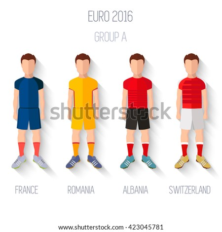 France EURO 2016 Championship Infographic Qualified Soccer Players GROUP A. Football Game Flat People Icon.Soccer / Football team players. Group A - France, Romania, Albania, Switzerland. Vector. - stock vector