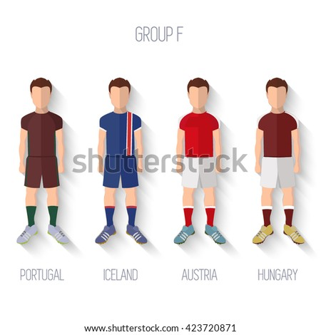France EURO 2016 Championship Infographic Qualified Soccer Players GROUP F. Football Game Flat People Icon.Soccer / Football team players. Group F - Portugal, Iceland, Austria, Hungary. Vector. - stock vector