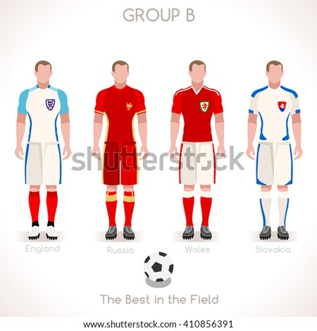 France EURO 2016.Soccer Group B Player Athletes.Vector France 2016 Match. EURO Championship Football Game.Soccer International Match Illustration. Soccer European Cup 2016 Group B Player - stock vector