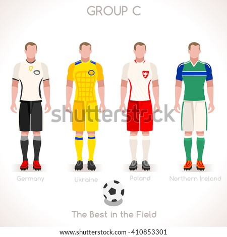France EURO 2016.Soccer Group C Player Athletes.Vector France 2016 Match. EURO Championship Football Game.Soccer International Match Illustration. Soccer European Cup 2016 Group C Player - stock vector