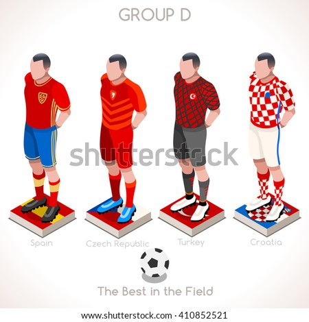 France EURO 2016.Soccer Group D Player Athletes.Vector France 2016 Match. EURO Championship Football Game.Soccer International Match Illustration. Soccer European Cup 2016 Group D Player Isometric - stock vector