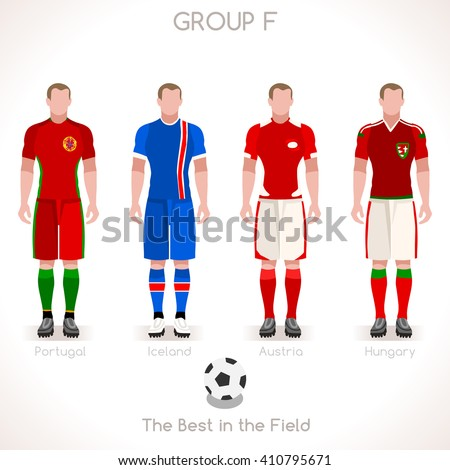 France EURO 2016.Soccer Group F Player Athletes.Vector France 2016 Match. EURO Championship Football Game.Soccer International Match Illustration. Soccer European Cup 2016 Group F Player - stock vector