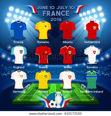 France EURO 2016.Soccer Jersey Apparel Player Athletes.Vector France 2016 Match. EURO Championship Football Game.Soccer International Match Illustration. Soccer European Cup 2016 Jersey Apparel Player - stock vector