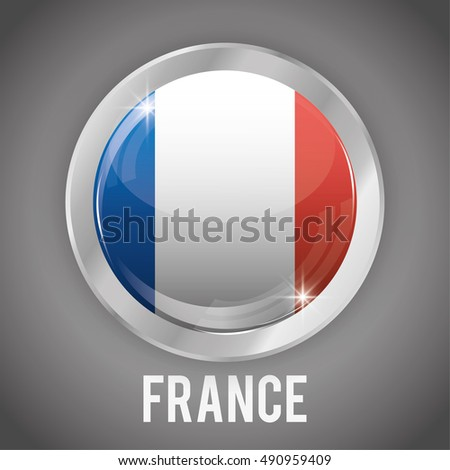 france flag button icon. europe nation and government theme. Colorful and isolated design. Vector illustration