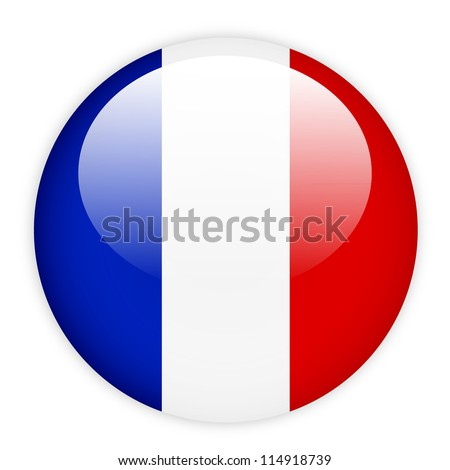 France flag button on white - stock vector