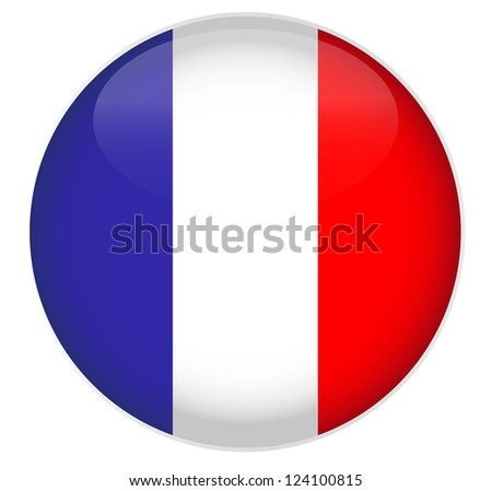 France Flag Glossy Button. - stock vector