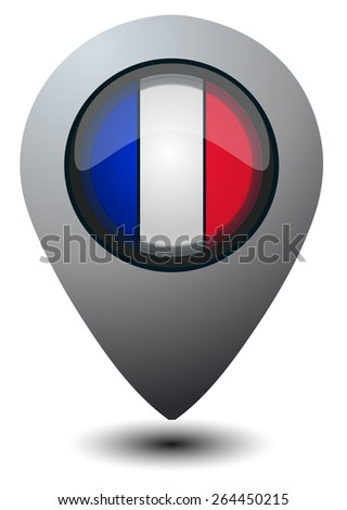 France Flag Glossy Map Marker, Vector Illustration isolated on White Background.  - stock vector