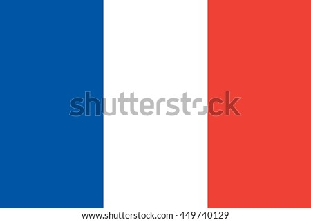 France flag, official colors and proportion correctly - stock vector