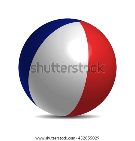 France flag on a 3d ball with shadow - stock vector