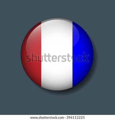 France flag on button - stock vector