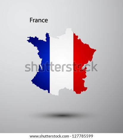 France flag on map of country - stock vector