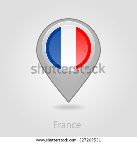 France flag pin map icon, isolated vector illustration eps 10