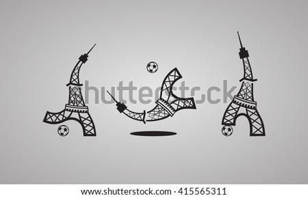 France Football Euro 2016 logo. Eiffel Tower plays soccer. Set of vector icons. - stock vector