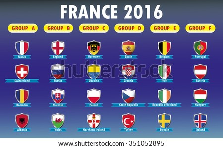 France 2016 football icons flags of the participating countries, vector illustration