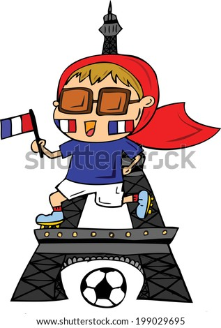 France Football player in famous background - stock vector