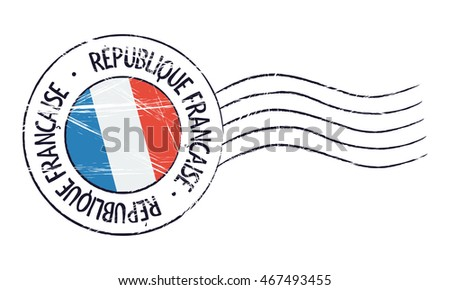 France grunge postal stamp and flag on white background