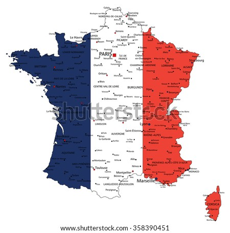 France highly detailed political map with national flag isolated on white background. - stock vector
