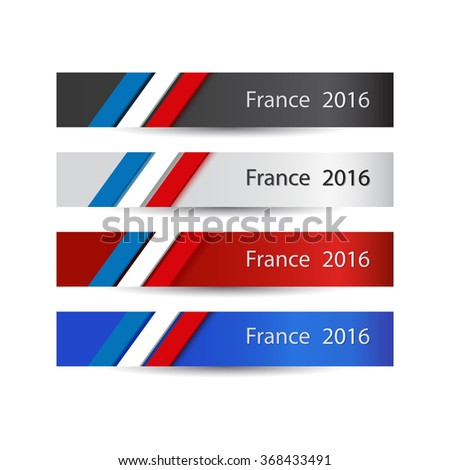 France in 2016. Banner collection. French flag colors background. Vector illustration.