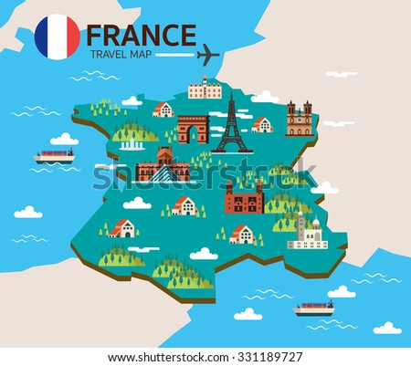 france landmark travel map flat design stock vector. Black Bedroom Furniture Sets. Home Design Ideas