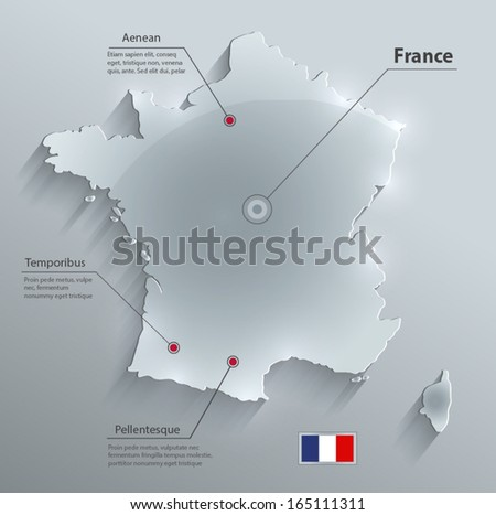 France map glass card paper 3D vector - stock vector