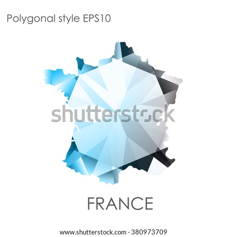 France map in geometric polygonal style.Abstract gems triangle,modern design background. Vector illustration EPS10 - stock vector