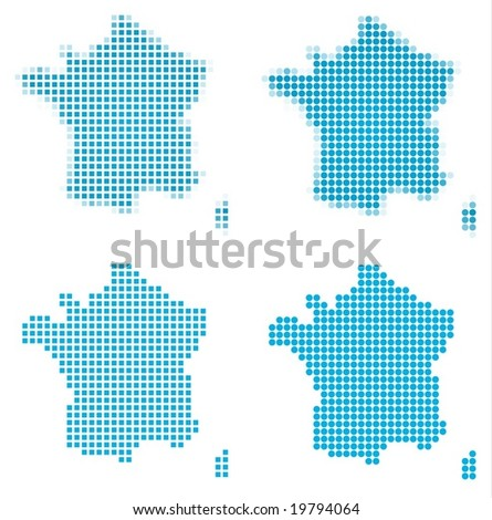 France map mosaic set. Isolated on white background. - stock vector