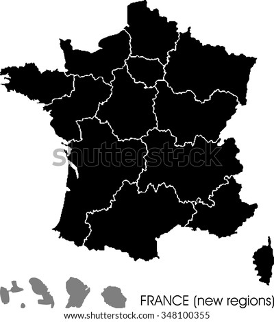 France map, new regions - stock vector