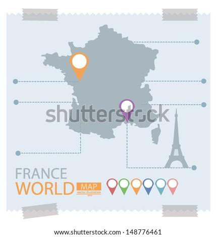 France. Map vector Illustration. - stock vector