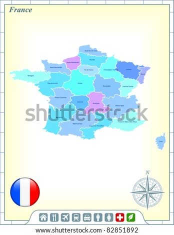 France Map with Flag Buttons and Assistance & Activates Icons Original Illustration - stock vector