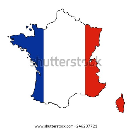 france map with flag vector images