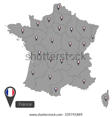 France map with regions on white background - stock vector