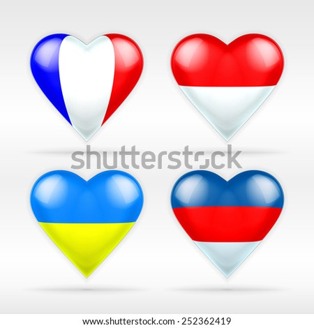 France, Monaco, Ukraine and Russia heart flag set of European states as collection of isolated vector state flags icon elements on white - stock vector