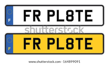 france number plate - stock vector
