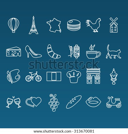 france outline icons - stock vector