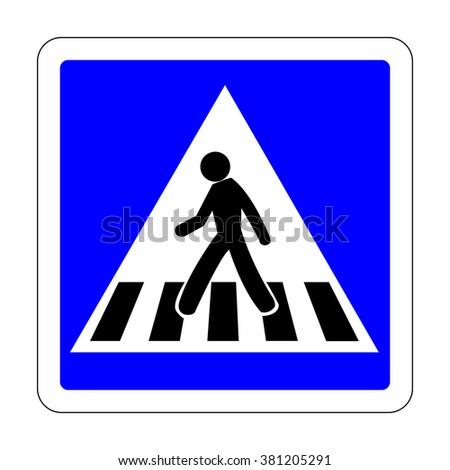 France Pedestrian Crossing Sign - stock vector
