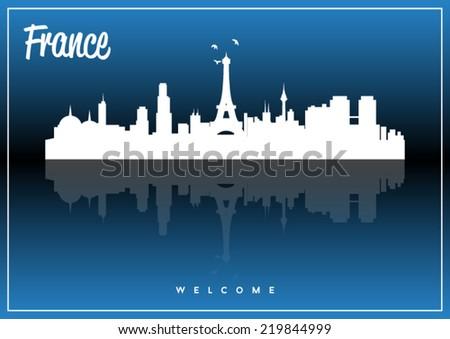France skyline silhouette vector design on parliament blue background. - stock vector