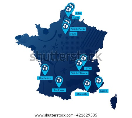 France soccer map 2016. Flat Vector Icon. - stock vector