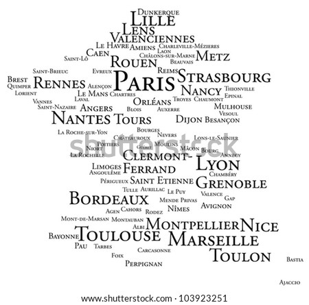 France tag cloud of largest cities - stock vector