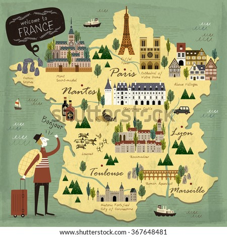 France travel concept illustration map with attractions - stock vector