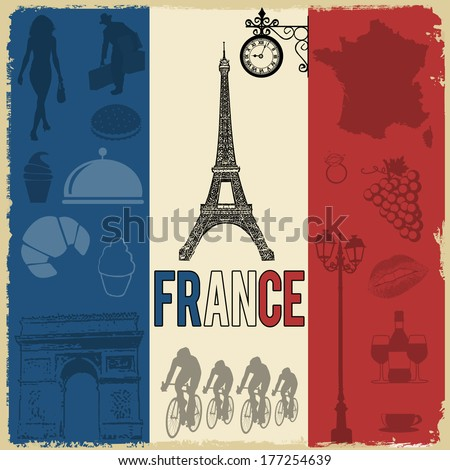 France travel grunge seamless pattern with national french sights, map and flag, vector illustration - stock vector