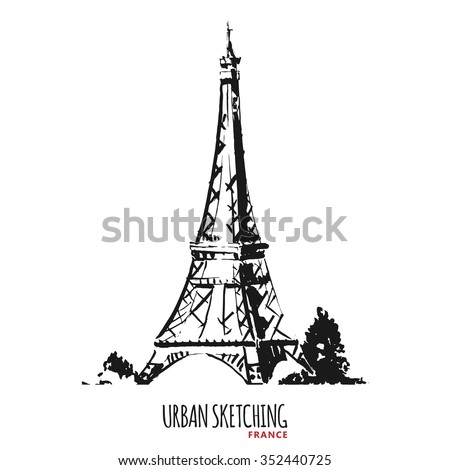 France urban sketch. Paris, Tour Eiffel, Eiffel Tower, historical monument. Hand drawn vector illustration. Freehand pencil travel sketch. Line art drawing with ink pen on paper. Vintage postcard. - stock vector