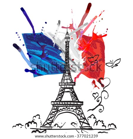 france vector flag isolated texture tour Eiffel romantic vector illustration heart frame - stock vector