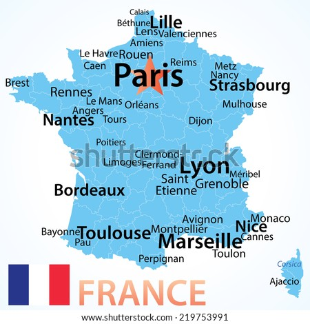 France - vector map with largest cities, carefully scaled text by city population, geographically correct. - stock vector