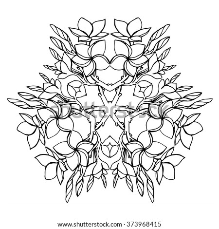 frangipani flower plumeria bouquet vector arrangement floral mandala adult coloring page in kaleidoscopic design tropical