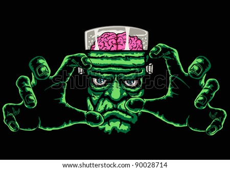 frankenstein monster, black background is easy to replace with another color - stock vector